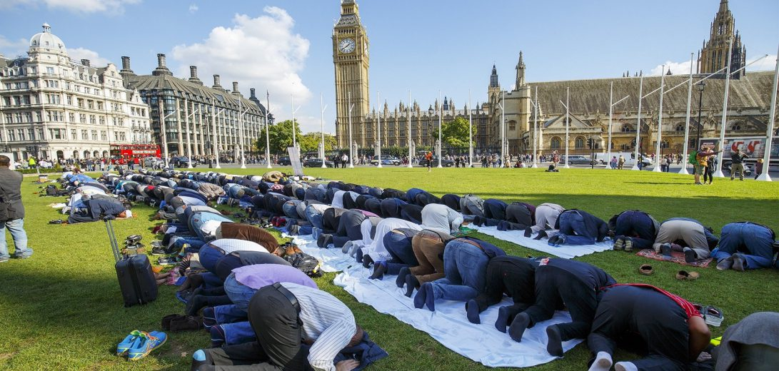 Friday Prayer in Parliament Square in London